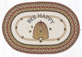 "Bee Happy Oval Braided Rug 20""x30"""
