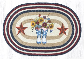 "American Boots with Barn Stars Oval Braided Rug 20""x30"""