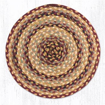 "Burgundy/Gray/Cream/Mustard Jute Braided Chair Pad 15.5""x15.5"""