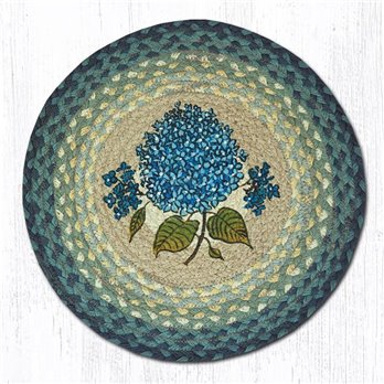 "Blue Hydrangea Round Braided Chair Pad 15.5""x15.5"""