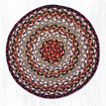 "Burgundy/Mustard/Ivory Jute Braided Chair Pad 15.5""x15.5"""