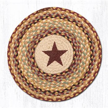 "Burgundy Star Round Braided Chair Pad 15.5""x15.5"""