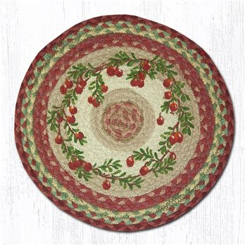 "Cranberries Round Braided Chair Pad 15.5""x15.5"""