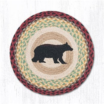 "Cabin Bear Round Braided Chair Pad 15.5""x15.5"""