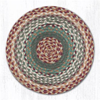 "Buttermilk/Cranberry Jute Braided Chair Pad 15.5""x15.5"""