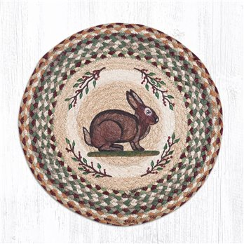 "Vintage Rabbit Round Braided Chair Pad 15.5""x15.5"""