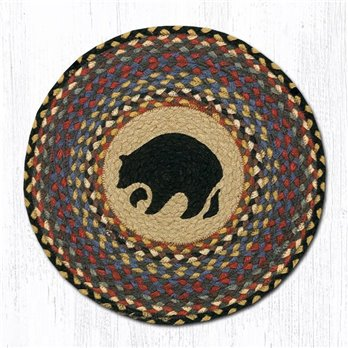 "Black Bear Round Braided Chair Pad 15.5""x15.5"""