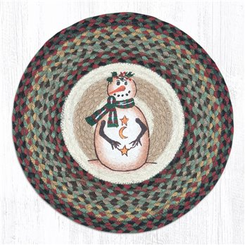 "Moon & Star Snowman Round Braided Chair Pad 15.5""x15.5"""