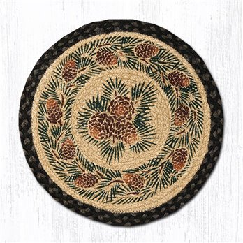 "Pinecone Round Braided Chair Pad 15.5""x15.5"""