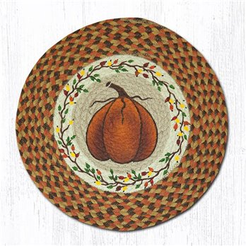 "Harvest Pumpkin Round Braided Chair Pad 15.5""x15.5"""