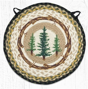 "Tall Timbers Round Braided Chair Pad 15.5""x15.5"""