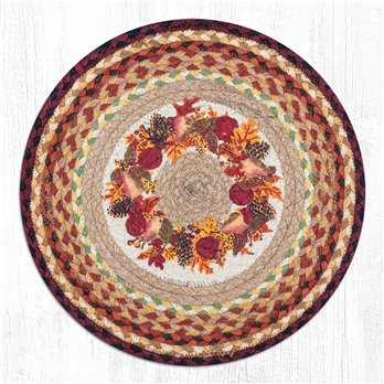 "Autumn Wreath Round Braided Chair Pad 15.5""x15.5"""