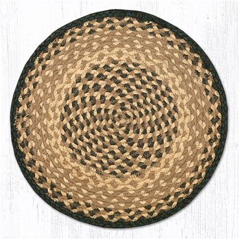 "Chocolate/Natural Jute Braided Chair Pad 15.5""x15.5"""