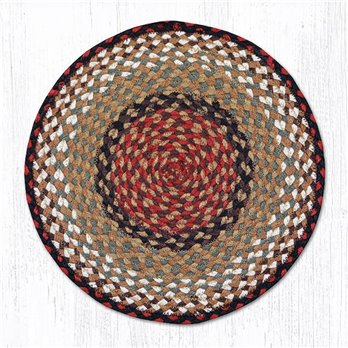 "Burgundy/Mustard Jute Braided Chair Pad 15.5""x15.5"""