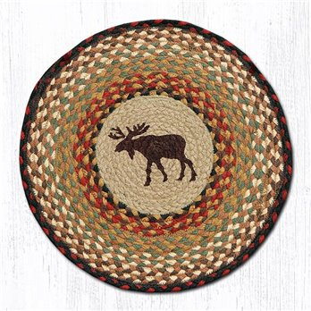"Moose Round Braided Chair Pad 15.5""x15.5"""