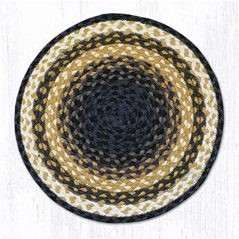 "Lt. Blue/Dk. Blue/Mustard Jute Braided Chair Pad 15.5""x15.5"""