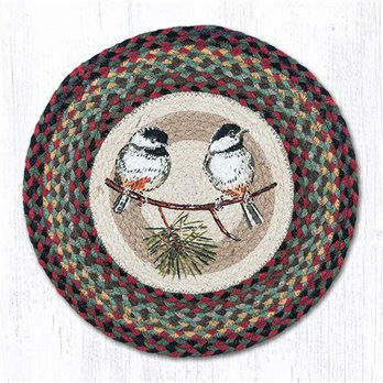 "Chickadee Round Braided Chair Pad 15.5""x15.5"""