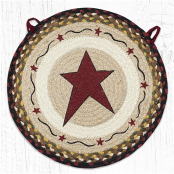 "Primitive Star Burgundy Round Braided Chair Pad 15.5""x15.5"""