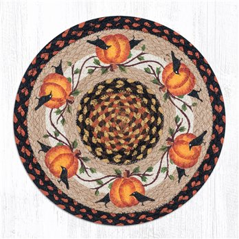 "Pumpkin Crow Round Braided Chair Pad 15.5""x15.5"""