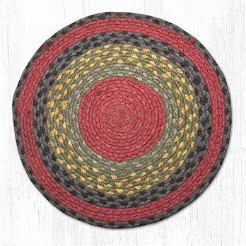 "Burgundy/Olive/Charcoal Jute Braided Chair Pad 15.5""x15.5"""