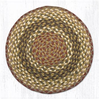 "Olive/Burgundy/Gray Jute Braided Chair Pad 15.5""x15.5"""