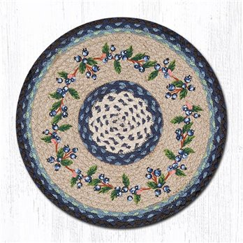 "Blueberry Vine Round Braided Chair Pad 15.5""x15.5"""