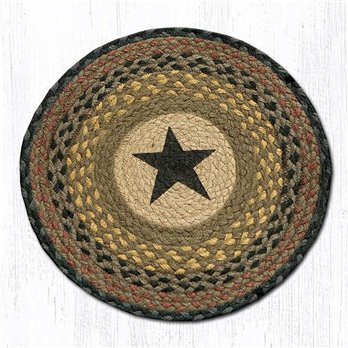 "Black Star Round Braided Chair Pad 15.5""x15.5"""
