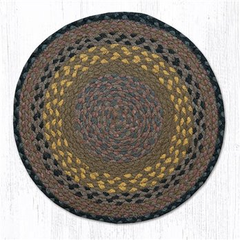 "Brown/Black/Charcoal Jute Braided Chair Pad 15.5""x15.5"""