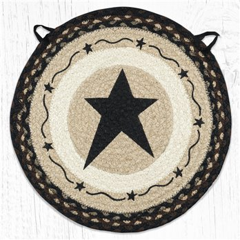 "Primitive Star Black Round Braided Chair Pad 15.5""x15.5"""