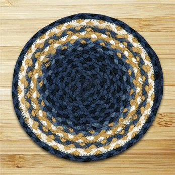 "Light Blue, Dark Blue & Mustard Round Swatch 10""x10"""