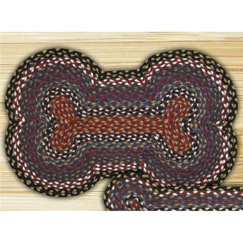 "Burgundy, Blue & Gray Large Dog Bone Shaped Braided Rug 18""x28"""
