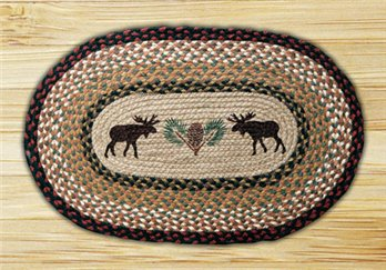"Moose and Pinecone Braided and Printed Oval Rug 20""x30"""