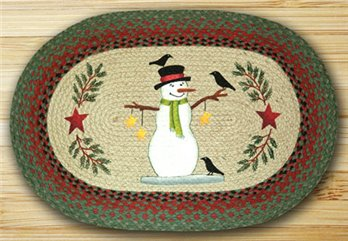 "Snowman with Crow Braided and Printed Oval Rug 20""x30"""