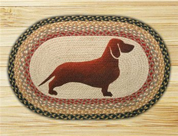 "Dachshund Braided and Printed Oval Rug 20""x30"""