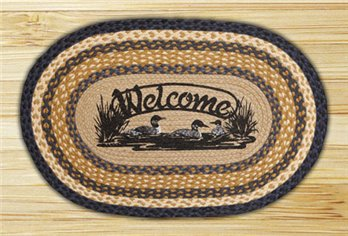 "Welcome Loons Braided and Printed Oval Rug 20""x30"""