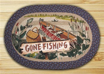 "Gone Fishing Braided and Printed Oval Rug 20""x30"""