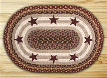 "Burgundy Stars Oval Braided Rug 20""x30"""