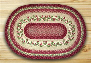 "Cranberries Braided and Printed Oval Rug 20""x30"""