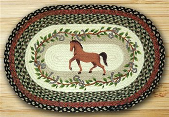 "Horse / Oak Leaf Braided and Printed Oval Rug 20""x30"""