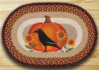 "Crow Pumpkin Sunflower Braided and Printed Oval Rug 20""x30"""