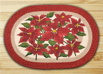 "Poinsettia Braided and Printed Oval Rug 20""x30"""