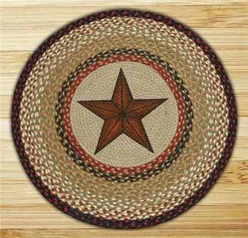 "Barn Star Round Braided Rug 27""x27"""