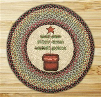 "Feather / Tree Braided and Printed Round Rug 27""x27"""