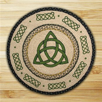 "Irish Knot Braided and Printed Round Rug 27""x27"""