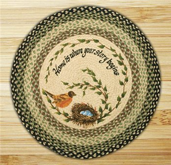 "Robins Nest Braided and Printed Round Rug 27""x27"""