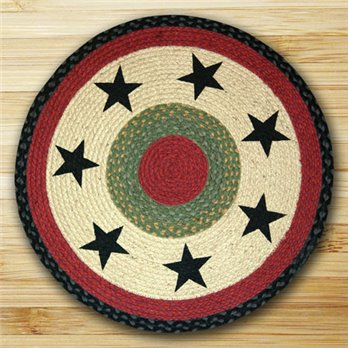 "Black Stars Braided and Printed Round Rug 27""x27"""