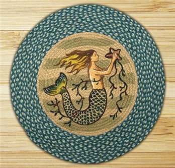 "Mermaid Braided and Printed Round Rug 27""x27"""