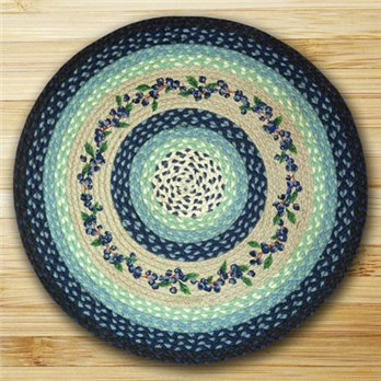 "Blueberry Vine Braided and Printed Round Rug 27""x27"""