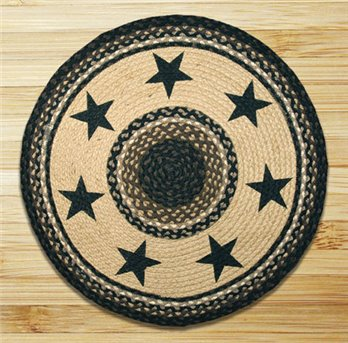 "Black Stars Round Braided Rug 27""x27"""