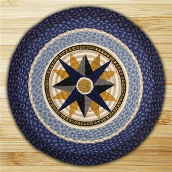 "Compass Braided and Printed Round Rug 27""x27"""